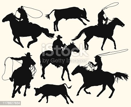 Contours of a cowboys at the rodeo with a bull. Men with lasso riding a horse, isolated vector silhouettes set