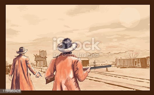 istock Cowboys with weapons in the wild west 1154950425