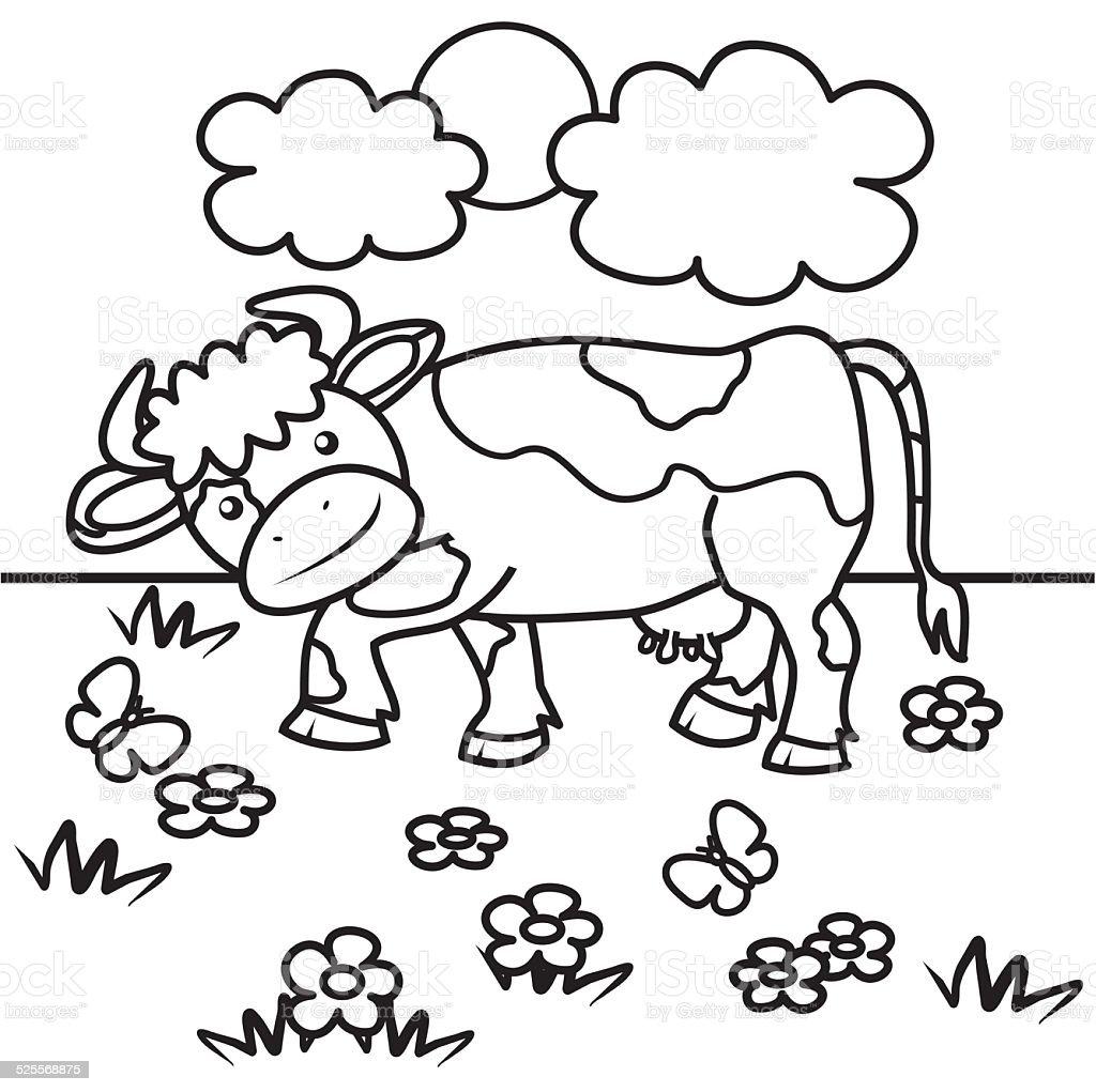 Ilustración de Vaca Libro Para Colorear y más banco de imágenes de ...