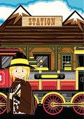 Cowgirl Gunslinger at Train Station