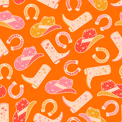 Cowgirl Horse Ranch seamless vector pattern. Cowboy boots, hat, horseshoe repeating background. Wild West surface pattern design for fabric, wallpaper, packaging, wrapping.