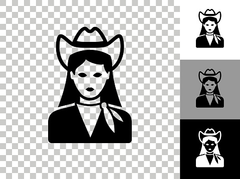 Cowgirl Icon on Checkerboard Transparent Background
