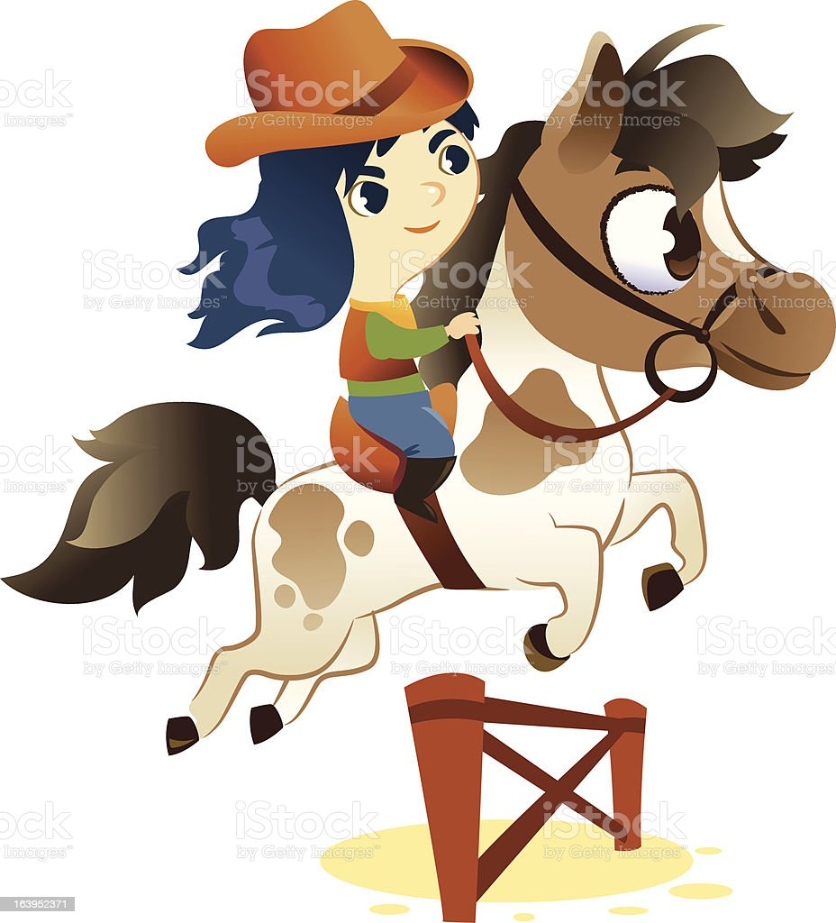 Cowgirl on Small Horse, jumping a Hurdle royalty-free stock vector art