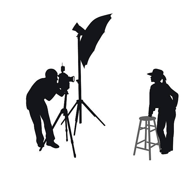 cowgirl photo shoot silhouette vector - fotostudios stock-grafiken, -clipart, -cartoons und -symbole