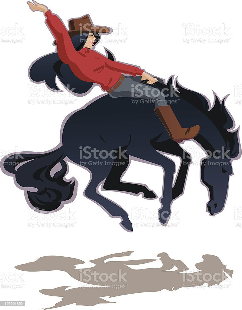 Cowgirl riding horse vector art illustration
