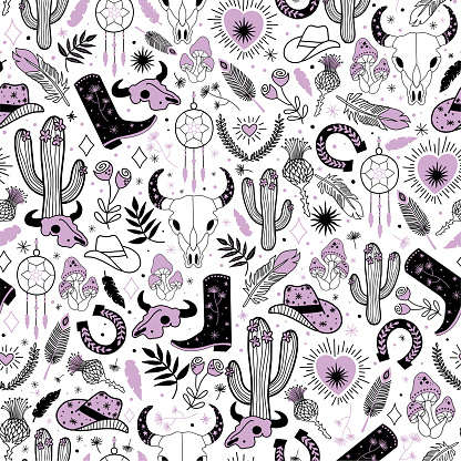 Cowgirl seamless vector pattern. Western rodeo boho repeating background black line art. Cowboy boots, cowgirl hat, cactus, dessert, skull bohemian feathers, plants, horseshoe isolated for fabric