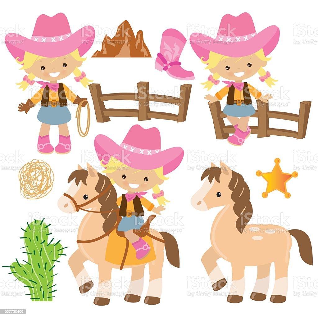 Cowgirl Vector Cartoon Illustration Stock Illustration ...