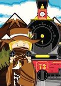 Cowgirl & Wild West Train Scene
