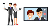 Coworkers taking selfie vector flat illustration. Businessman with monopod and businesswoman holding laptop cartoon characters. Business video call, message, corporate communication, conversation