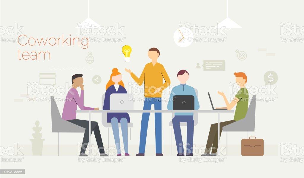 コワーキング。ノート パソコンを使用して若者のビジネス コンセプト ベクターアートイラスト
