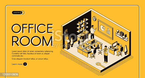 istock Co-working center office isometric vector website 1205510926