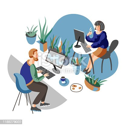 Coworking center vector illustration. Freelance work promotional website design layout, text space. Cartoon male, female freelancers working at PC in office. Modern workspace, environment