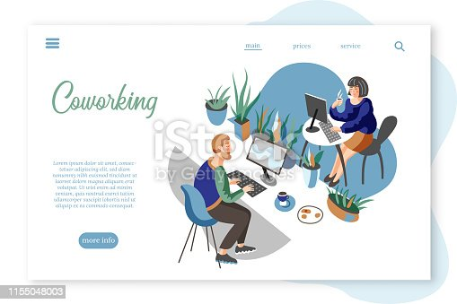 Coworking center vector landing page template. Freelance work promotional website design layout, text space. Cartoon male, female freelancers working at PC in office. Modern workspace, environment