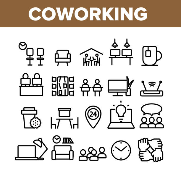 ilustrações de stock, clip art, desenhos animados e ícones de coworking collection elements icons set vector - coworking