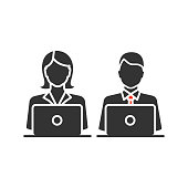 Coworking glyph icon. Vector silhouette. Office work. Freelancing. Colleagues working with laptops