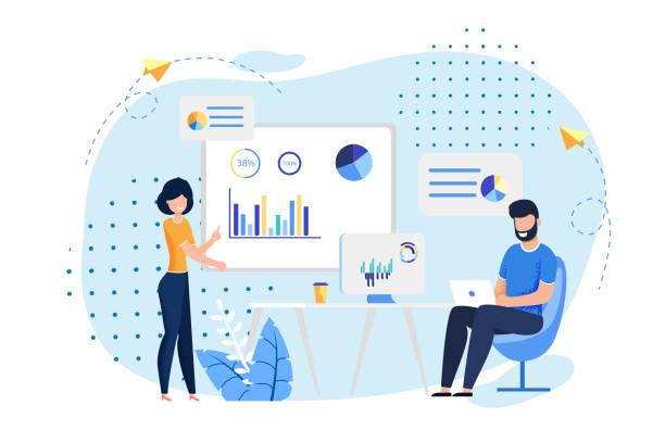 Coworking Office und Mitarbeiter fliegen Illustration – Vektorgrafik
