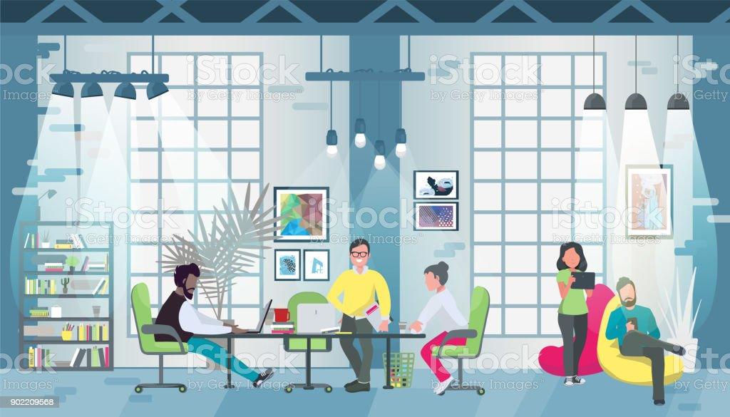 Design de concept de bureau de coworking pour bannières web