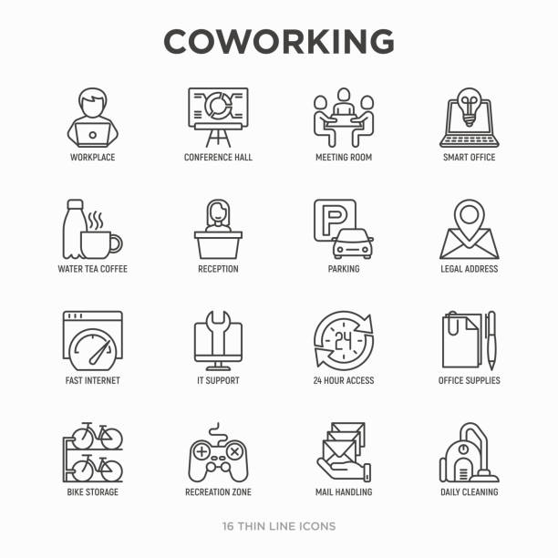 ilustrações de stock, clip art, desenhos animados e ícones de coworking office thin line icons set: workplace, meeting room, conference hall, smart office, parking, reception, 24 hour access, it support, bike storage, recreation zone. vector illustration. - coworking