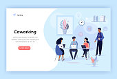 Coworking space, business team concept illustration, perfect for web design, banner, mobile app, landing page, vector flat design