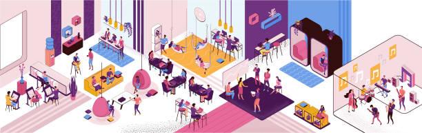 Coworking Space Interieur, kreative und Büro-Menschen arbeiten in offenen Arbeitsbereich, Freelancer mit Laptop, moderne Umgebung, Loft-Stil Platz, Malwerkstatt, Musiker, horizontale Vektor-Illustration – Vektorgrafik