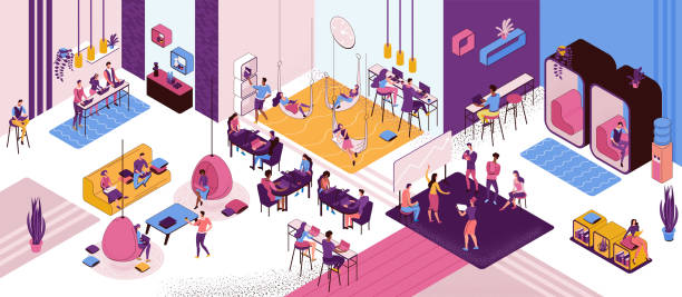 Coworking space interior, creative and office people work in open workspace, freelancer with laptop, modern environment, loft style place, painting workshop, musicians, horizontal vector illustration vector art illustration