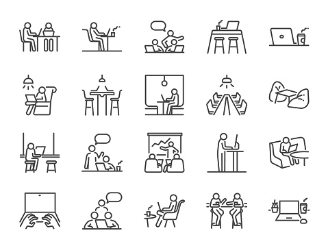 Co-working space line icon set. Included icons as coworkers, coworking, sharing office, business, company, work and more. clipart