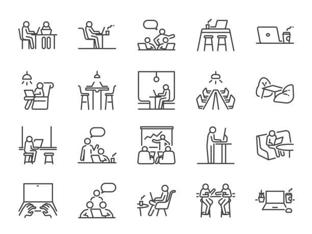 ilustrações, clipart, desenhos animados e ícones de conjunto de ícones da linha espacial de co-working. ícones incluídos como colegas de trabalho, coworking, escritório de partilha, empresa, empresa, trabalho e muito mais. - carteira