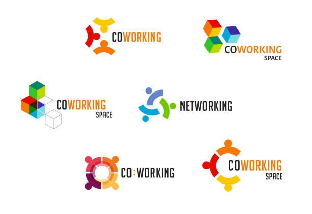 ilustrações de stock, clip art, desenhos animados e ícones de coworking space, networking zone logo and icons collection. vector design - coworking