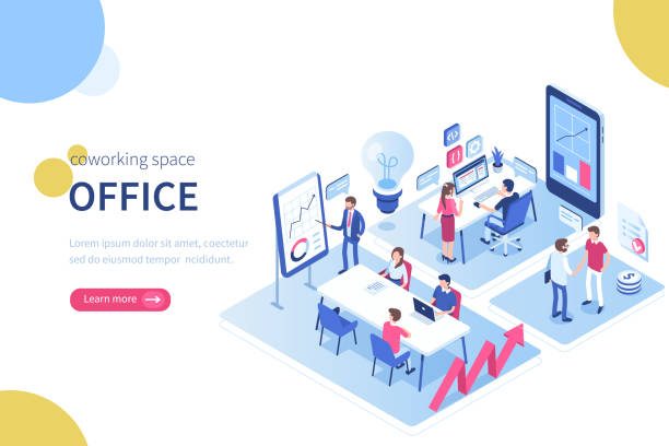 coworking space People in coworking office concept design. Can use for web banner, infographics, hero images. Flat isometric vector illustration isolated on white background. place of work stock illustrations