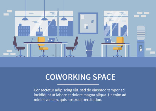 coworking space - office stock illustrations
