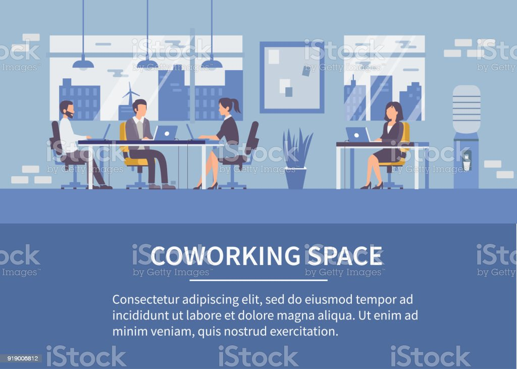 Coworking space vector art illustration