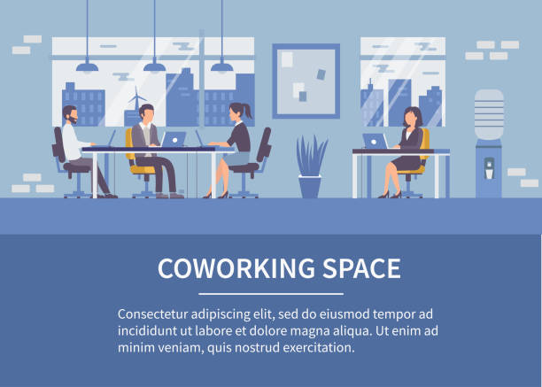 coworking space - office job stock illustrations, clip art, cartoons, & icons