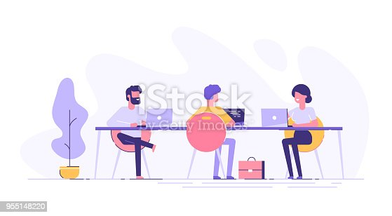 istock Coworking space with creative people sitting at the table. Business team working together at the big desk using laptops. Flat design style vector illustration. 955148220