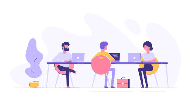 ilustrações de stock, clip art, desenhos animados e ícones de coworking space with creative people sitting at the table. business team working together at the big desk using laptops. flat design style vector illustration. - team