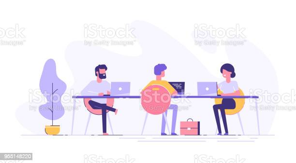 Coworking Space With Creative People Sitting At The Table Business Team Working Together At The Big Desk Using Laptops Flat Design Style Vector Illustration - Arte vetorial de stock e mais imagens de Adulto