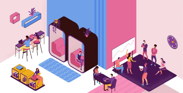 Coworking space with private phone booth, conversation room, individual workspace, freelancer working on laptop, modern office people, graphic vector illustration vector art illustration