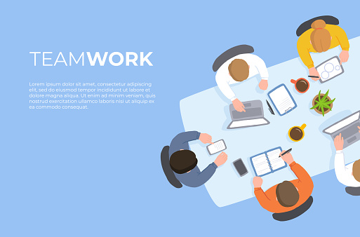 Coworking Teamwork at the Table Top View