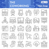 Coworking thin line icon set, business freelance symbols collection or sketches. Office work linear style signs for web and app. Vector graphics isolated on white background