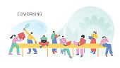 Coworking space with people working, using laptops and phones. Fully editable vectors.