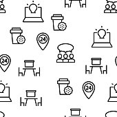 Coworking Vector Seamless Pattern Thin Line Illustration