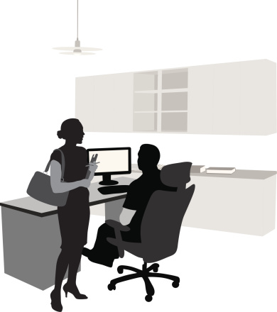 Co-Working Vector Silhouette