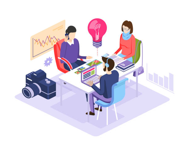 Coworking with creative designer people sitting at the table. Coworking with creative people sitting at the table. Designers working together on a project. Business team working in teamwork in office room on business meeting. Isometric vector. colleague stock illustrations