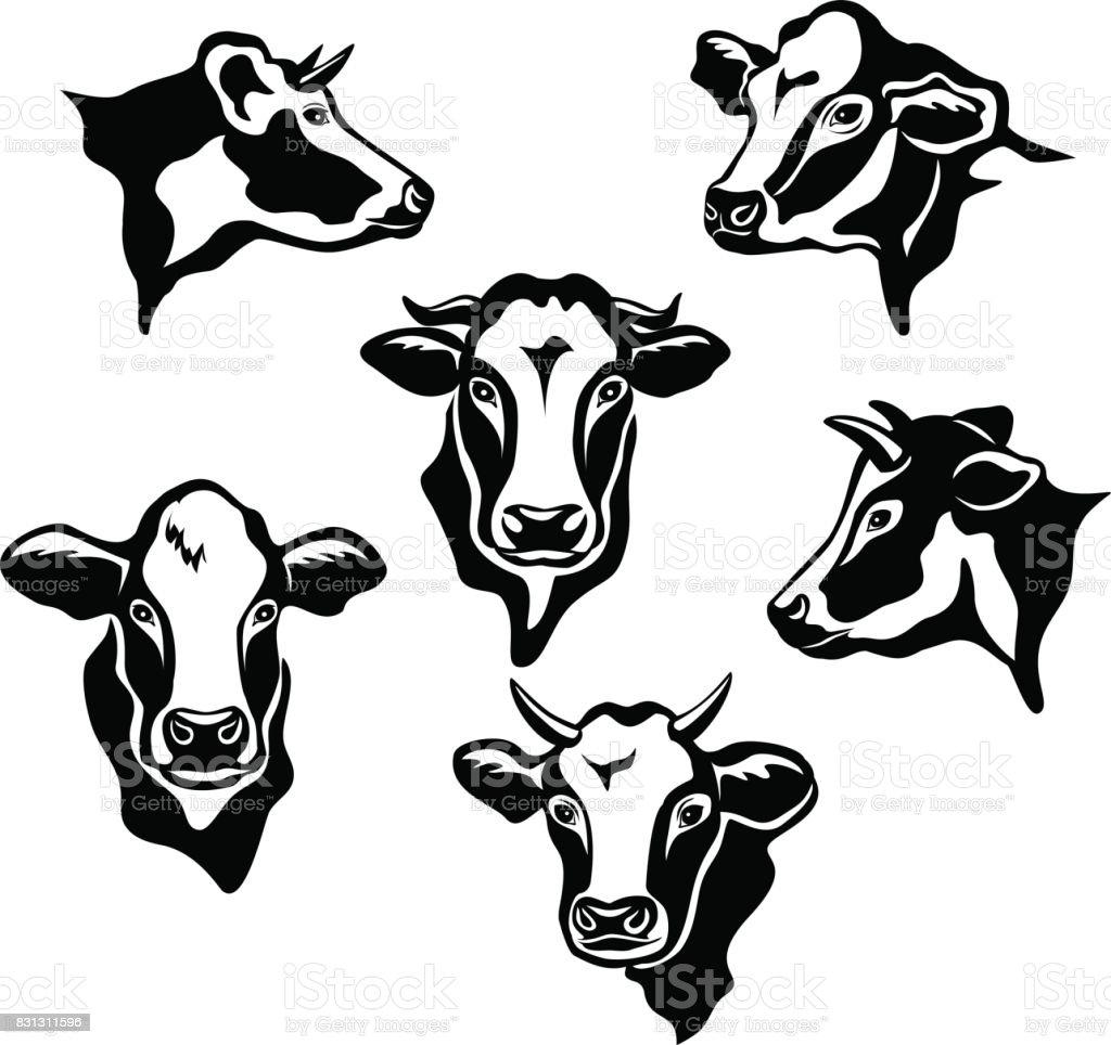Jeu de silhouettes de Portraits de bovins vaches - Illustration vectorielle