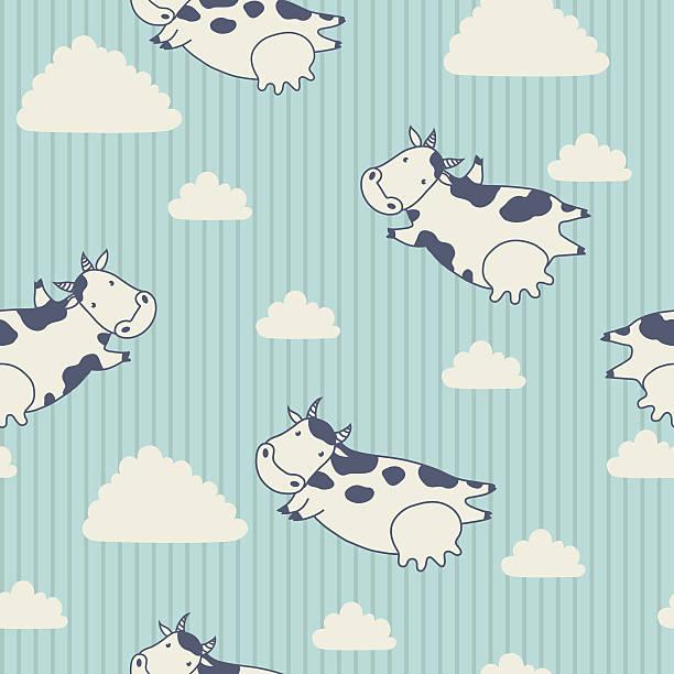 kühe fliegen in den himmel mit wolken. - lustige kuh bilder stock-grafiken, -clipart, -cartoons und -symbole