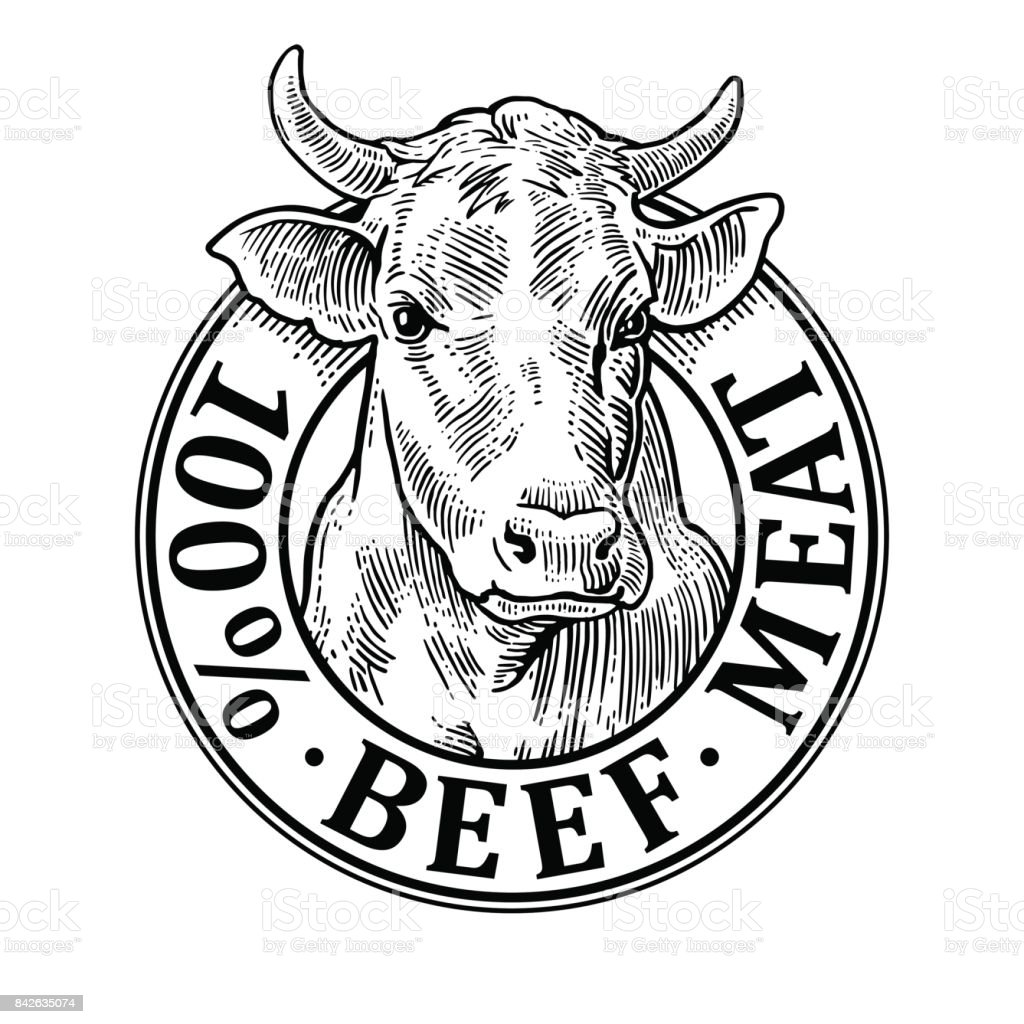 Cows Head 100 Percent Beef Meat Lettering Vintage Vector Engraving ...