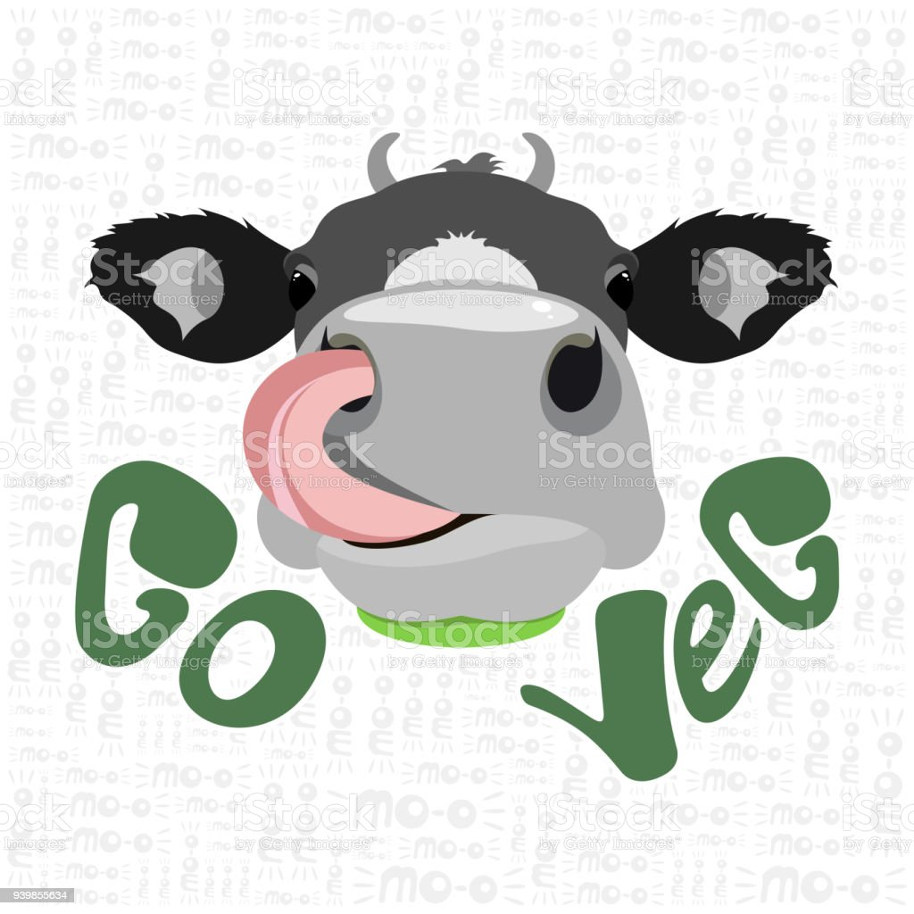 Ilustración de Cabeza De Vaca Con Lengua Go Veg y más banco de ...
