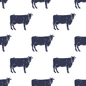 Cows Illustration Seamless Pattern Background. Vector