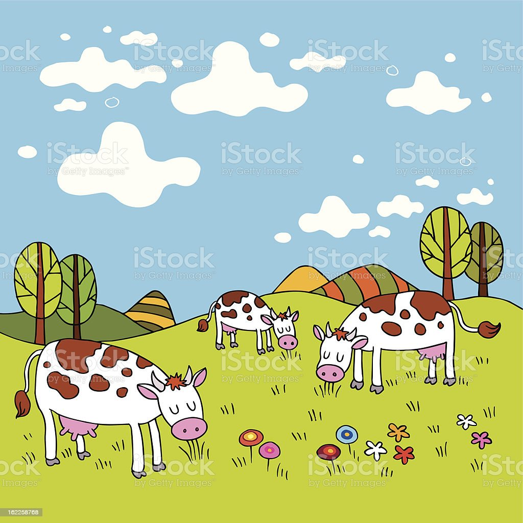 cows in a field royalty-free cows in a field stock vector art & more images of agriculture