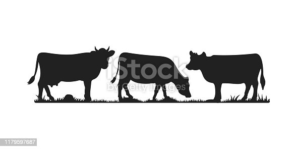 Cows in different poses vector set. Silhouettes of grass. Cow grazing on meadow