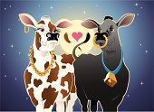 Cartoon vector of two cows, (milk cow and Black Angus Bull) on a moonlit night.  CS2, AI8 EPS, PDF, and 300 dpi JPG are included.